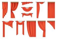 Vektoruppsättning av röda gardiner för teater vektor illustrationer