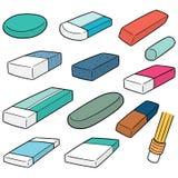 Vektoruppsättning av radergummit vektor illustrationer