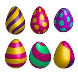 Vektoruppsättning av realistiska lyckliga easter ägg i isolerade olika former illustration 3d stock illustrationer