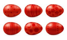 Vektoruppsättning av realistiska lyckliga isolerade easter ägg stock illustrationer