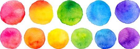Vektoruppsättning av regnbågevattenfärgcirklar Arkivfoto