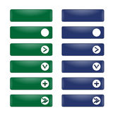 Vektoruppsättning av rektangulära knappar med en rund ram Fotografering för Bildbyråer