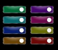 Vektoruppsättning av rektangulära knappar med en rund ram Royaltyfri Illustrationer