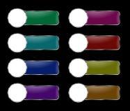 Vektoruppsättning av rektangulära knappar med en rund ram Royaltyfria Bilder