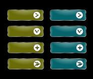 Vektoruppsättning av rektangulära knappar med en rund ram med en pict Stock Illustrationer