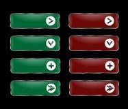 Vektoruppsättning av rektangulära knappar med en rund ram med en pict Arkivfoton