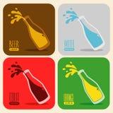 Vektoruppsättning av retro drinkar i en glasflaska Royaltyfri Foto