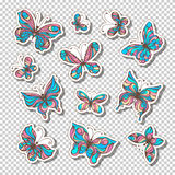 Vektoruppsättning av retro klibbiga etiketter med fjärilar Fotografering för Bildbyråer