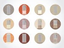 Vektoruppsättning av runda symboler av dörrar Arkivfoto