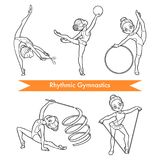 Vektoruppsättning av rytmisk gymnastik frisyrer för exponeringsglas för flickor för gulligt mode för tecknad filmbarnkläder instä stock illustrationer