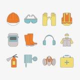 Vektoruppsättning av säkerhetsarbetssymboler, inklusive hjälpmedel Fotografering för Bildbyråer