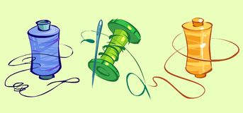 Vektoruppsättning av sömnadhjälpmedel för en variation av bruk vektor illustrationer