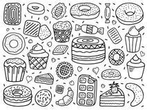 Vektoruppsättning av sötsaker Arkivbild