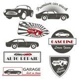 Vektoruppsättning av service för bil för tappningbilsymboler och Arkivbild