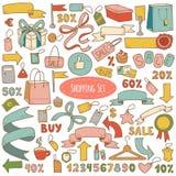 Vektoruppsättning av shoppingobjekt, färgrik tecknad filmsamling royaltyfri illustrationer