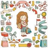 Vektoruppsättning av shoppingobjekt, flicka med shoppingpåsar vektor illustrationer