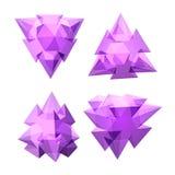 Vektoruppsättning av sikter av genomskinlig komplex geometrisk form som baseras på tetrahedron Royaltyfri Fotografi