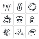 Vektoruppsättning av sjukdomsymboler stock illustrationer