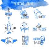Vektoruppsättning av skaldjuretiketter och tecken vektor illustrationer