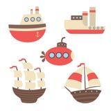 Vektoruppsättning av skepp, ångarna, ubåten Fotografering för Bildbyråer