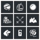 Vektoruppsättning av Ski Resort Icons Hjälm bergbana, väder, maskinrullningslutning, Poles, berg, räddningsaktionhund, hotell Arkivbild