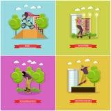 Vektoruppsättning av skridskosportar, lägenhetdesign royaltyfri illustrationer