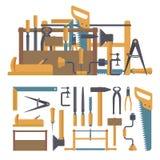 Vektoruppsättning av snickarehjälpmedel och instrument i plan stil Hem- konstruktionsreparation vektor illustrationer