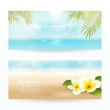 Vektoruppsättning av sommarhorisontalbaner med stranden, havet, vågor, palmblad och tropiska blommor Royaltyfri Foto