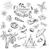 Vektoruppsättning av sommarloppet och semesteremblem och symboler Royaltyfri Bild