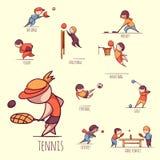 Vektoruppsättning av sportsmens royaltyfria bilder