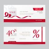 Vektoruppsättning av stilfulla horisontalbaner med den pappers- shoppingpåsen och röda band Royaltyfri Foto