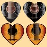 Vektoruppsättning av stilfulla kulöra plektra för gitarr Arkivfoton