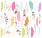 Vektoruppsättning av stiliserade eller abstrakta fjädrar Royaltyfria Bilder