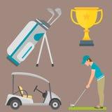 Vektoruppsättning av stiliserade symboler för sport för spelare för golfare för vagn för samling för utrustning för golfsymbolsho Arkivbild