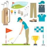 Vektoruppsättning av stiliserade symboler för sport för spelare för golfare för vagn för samling för utrustning för golfsymbolsho Fotografering för Bildbyråer