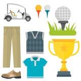 Vektoruppsättning av stiliserade symboler för sport för spelare för golfare för vagn för samling för utrustning för golfsymbolsho Royaltyfri Bild