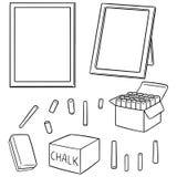 Vektoruppsättning av svart tavla och krita vektor illustrationer