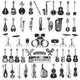 Vektoruppsättning av svartvita musikinstrument, lägenhetstil arkivfoton