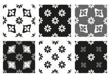 Vektoruppsättning av svartvita tappningbakgrunder för sömlösa blom- modeller Arkivbilder
