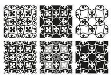 Vektoruppsättning av svartvita tappningbakgrunder för sömlösa blom- modeller Royaltyfri Fotografi