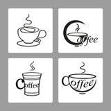 Vektoruppsättning av symboler av koppar kaffe på vita bakgrunder Arkivfoto
