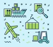 Vektoruppsättning av symboler, infographics på logistik Arkivbilder