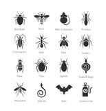 Vektoruppsättning av symboler med kryp för företag för plågakontroll Arkivbild