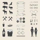 Vektoruppsättning av symboler och etiketter för din design stock illustrationer