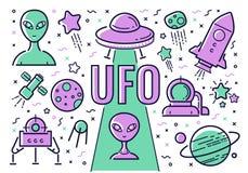 Vektoruppsättning av symboler och illustrationer på ämnet av ufo i stilen av lägenheten Royaltyfri Bild