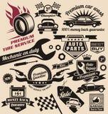 Vektoruppsättning av tappningbilsymboler och logoer Royaltyfri Foto