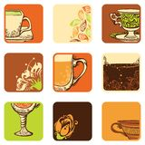 Vektoruppsättning av te-/kaffesymboler Fotografering för Bildbyråer