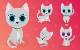 Vektoruppsättning av tecknad filmbilder av gulliga olika katter med olika handlingar och sinnesrörelser husdjur royaltyfri illustrationer