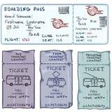 Vektoruppsättning av tecknad filmbiljetter för nivå-, buss-, spårvagn- och spårvagnbuss royaltyfri illustrationer