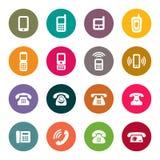 Vektoruppsättning av telefonsymboler stock illustrationer